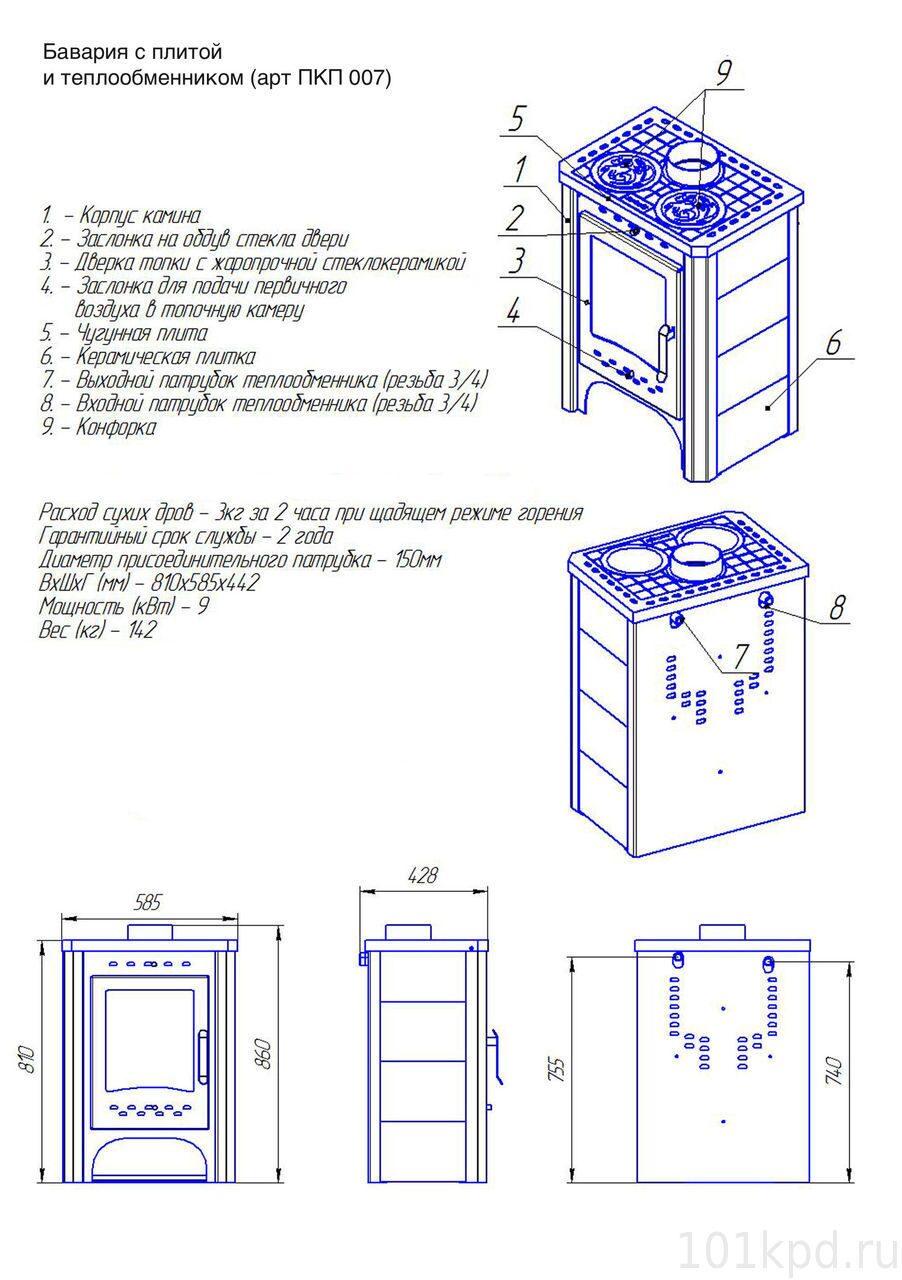 Пкп 007 печь бавария с плитой и теплообменником теплообменник для сушки леса